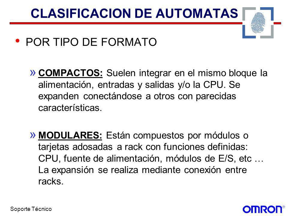 Soporte Técnico CLASIFICACION DE AUTOMATAS POR TIPO DE FORMATO » COMPACTOS: Suelen integrar en el mismo bloque la alimentación, entradas y salidas y/o