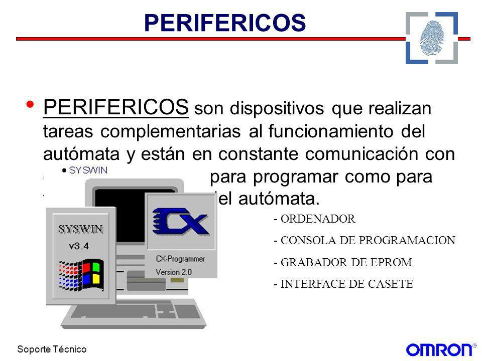 Soporte Técnico PERIFERICOS PERIFERICOS son dispositivos que realizan tareas complementarias al funcionamiento del autómata y están en constante comun