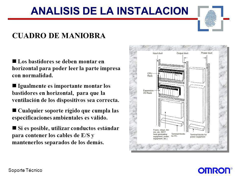 Soporte Técnico ANALISIS DE LA INSTALACION CUADRO DE MANIOBRA Los bastidores se deben montar en horizontal para poder leer la parte impresa con normal