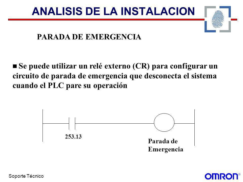Soporte Técnico ANALISIS DE LA INSTALACION PARADA DE EMERGENCIA Se puede utilizar un relé externo (CR) para configurar un circuito de parada de emerge