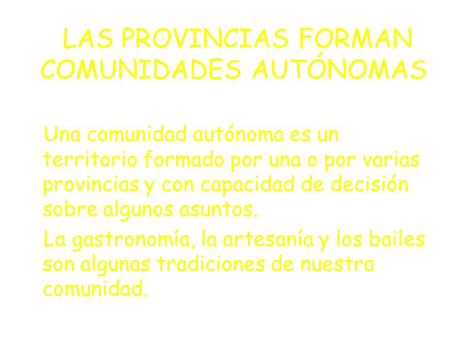 LOS MUNICIPIOS SE AGRUPAN EN PROVINCIAS Una provincia es un territorio formado por varios municipios con unos límites determinados.