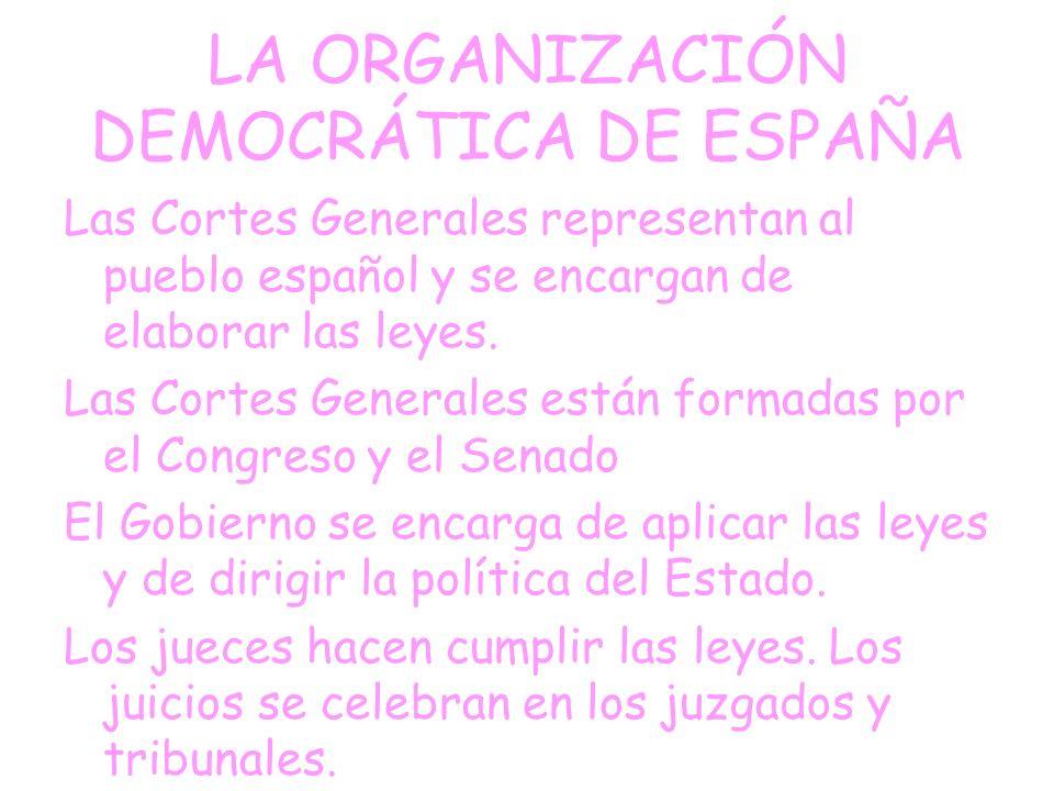 ESPAÑA ES UN PAÍS DEMOCRÁTICO La Constitución española establece que España es una democracia y define los derechos y deberes de los ciudadanos.