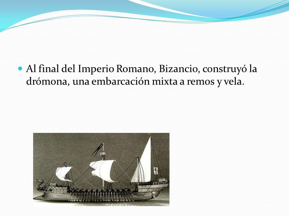 Al mismo tiempo, en el norte de Europa, los vikingos navegaban en barcos de madera con remos y con una sola vela cuadrada.