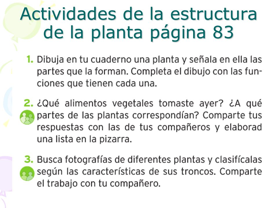 Actividades de la estructura de la planta página 83