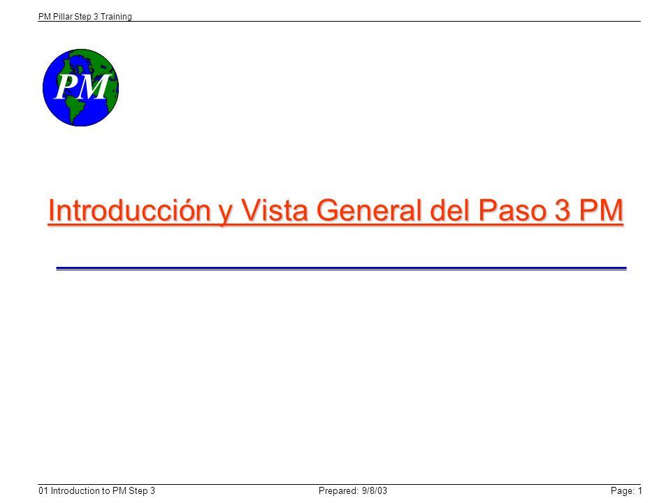 PM PM Pillar Step 3 Training Prepared: 9/8/0301 Introduction to PM Step 3Page: 1 Introducción y Vista General del Paso 3 PM