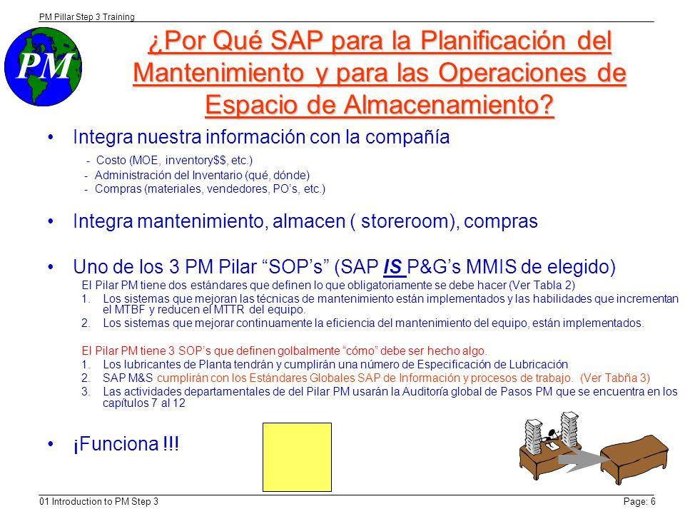 PM PM Pillar Step 3 Training 01 Introduction to PM Step 3Page: 6 ¿Por Qué SAP para la Planificación del Mantenimiento y para las Operaciones de Espacio de Almacenamiento.