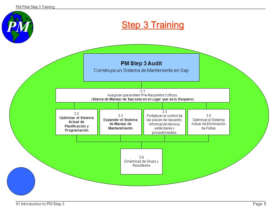 PM PM Pillar Step 3 Training 01 Introduction to PM Step 3Page: 8 Step 3 Training PM Step 3 Audit Construya un Sistema de Manteniento en Sap 3.1 Asegurar que existen Pre-Requisitos Críticos.