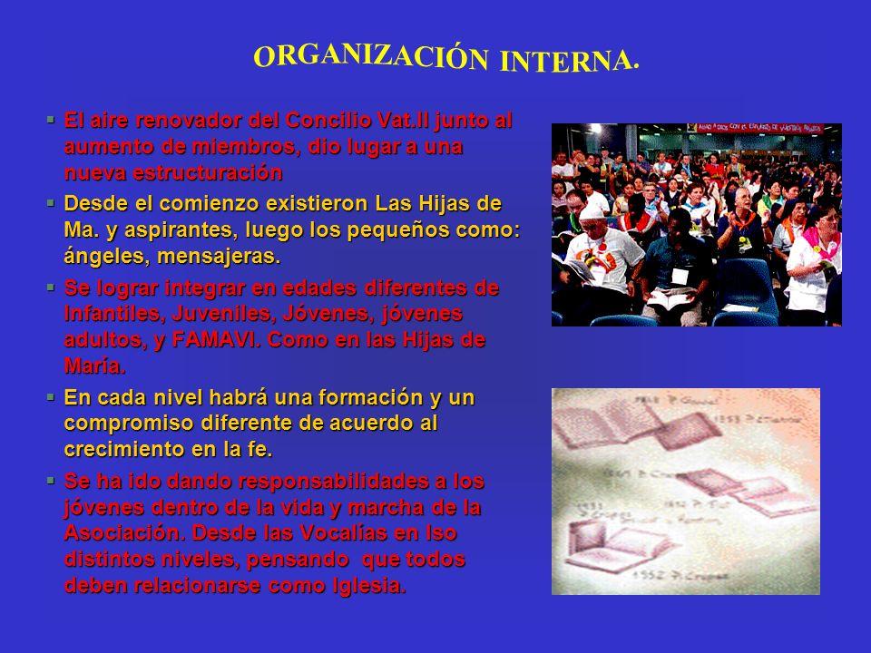 §El aire renovador del Concilio Vat.II junto al aumento de miembros, dio lugar a una nueva estructuración §Desde el comienzo existieron Las Hijas de M