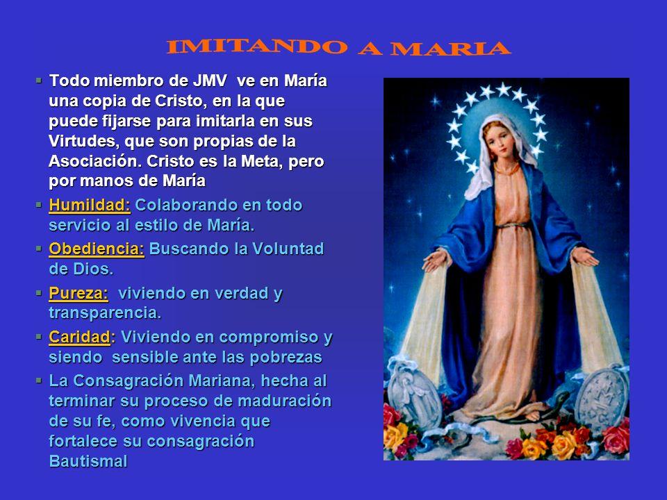 §Todo miembro de JMV ve en María una copia de Cristo, en la que puede fijarse para imitarla en sus Virtudes, que son propias de la Asociación. Cristo
