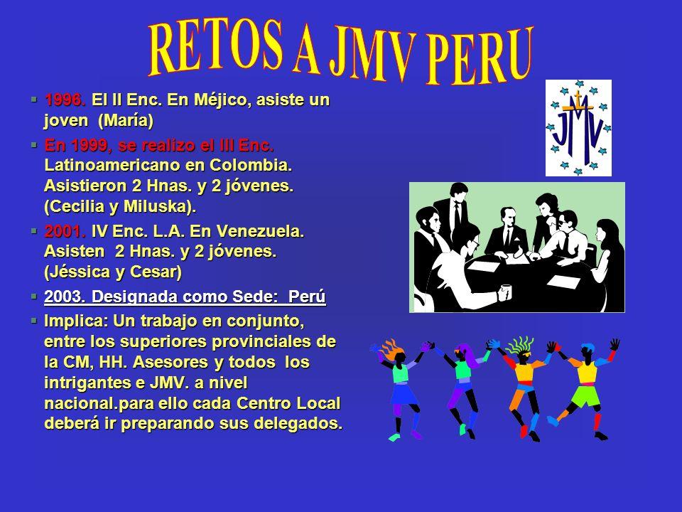 §1996. El II Enc. En Méjico, asiste un joven (María) §En 1999, se realizo el III Enc. Latinoamericano en Colombia. Asistieron 2 Hnas. y 2 jóvenes. (Ce