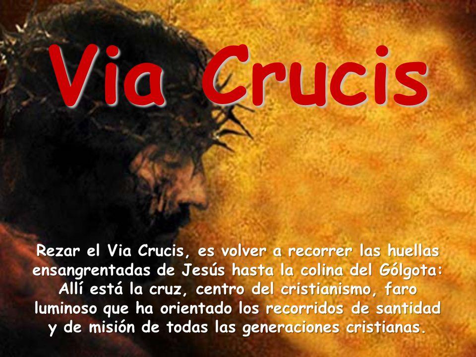 Via Crucis Rezar el Via Crucis, es volver a recorrer las huellas ensangrentadas de Jesús hasta la colina del Gólgota: Allí está la cruz, centro del cr