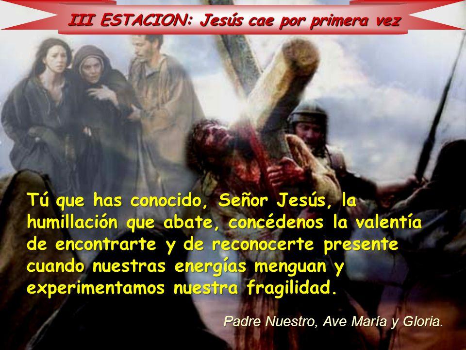 III ESTACION: Jesús cae por primera vez Tú que has conocido, Señor Jesús, la humillación que abate, concédenos la valentía de encontrarte y de reconoc