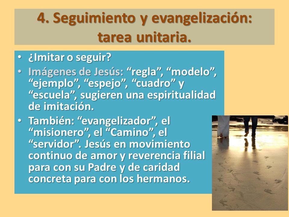 4. Seguimiento y evangelización: tarea unitaria. ¿Imitar o seguir? ¿Imitar o seguir? Imágenes de Jesús: regla, modelo, ejemplo, espejo, cuadro y escue