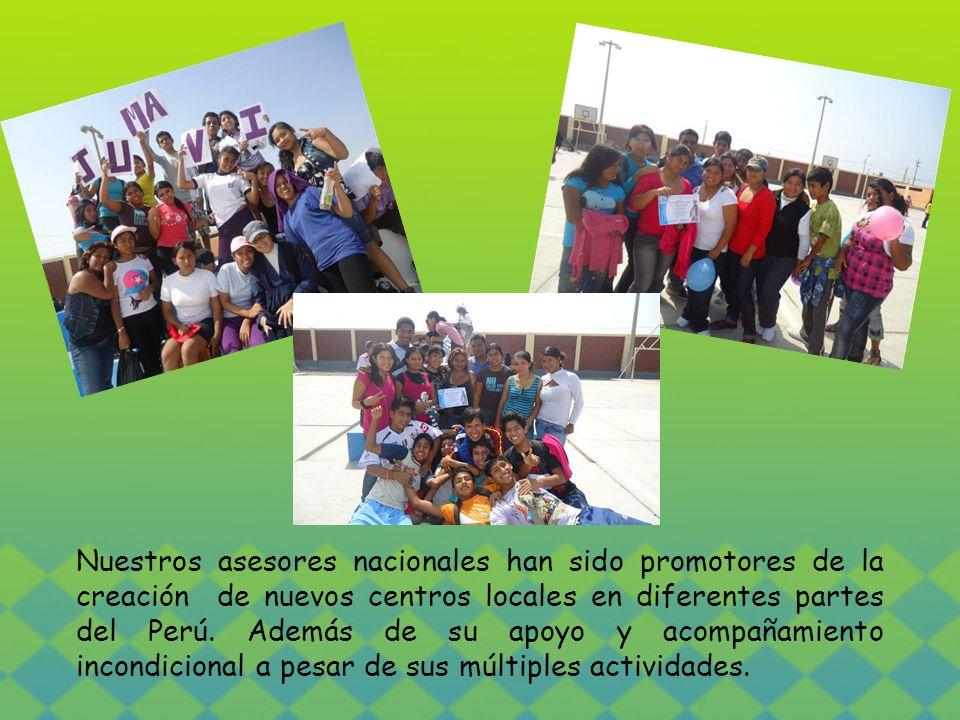 Nuestros asesores nacionales han sido promotores de la creación de nuevos centros locales en diferentes partes del Perú. Además de su apoyo y acompaña