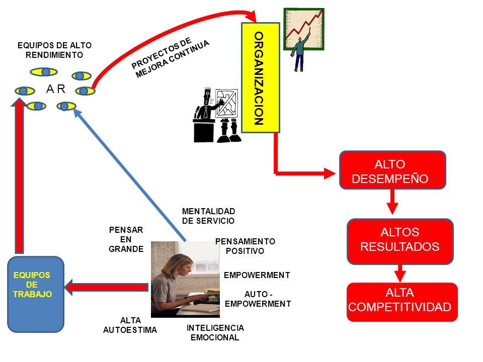 ORGANIZACION A R PENSAR EN GRANDE MENTALIDAD DE SERVICIO PENSAMIENTO POSITIVO ALTA AUTOESTIMA EMPOWERMENT INTELIGENCIA EMOCIONAL EQUIPOS DE ALTO RENDI