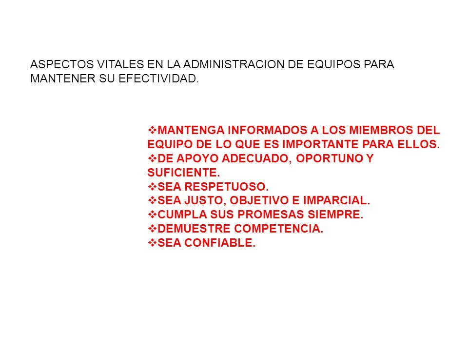 ASPECTOS VITALES EN LA ADMINISTRACION DE EQUIPOS PARA MANTENER SU EFECTIVIDAD. MANTENGA INFORMADOS A LOS MIEMBROS DEL EQUIPO DE LO QUE ES IMPORTANTE P