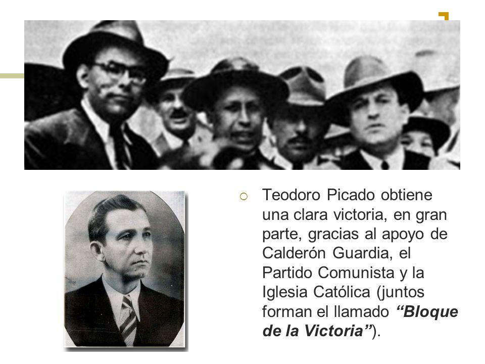 Teodoro Picado obtiene una clara victoria, en gran parte, gracias al apoyo de Calderón Guardia, el Partido Comunista y la Iglesia Católica (juntos for