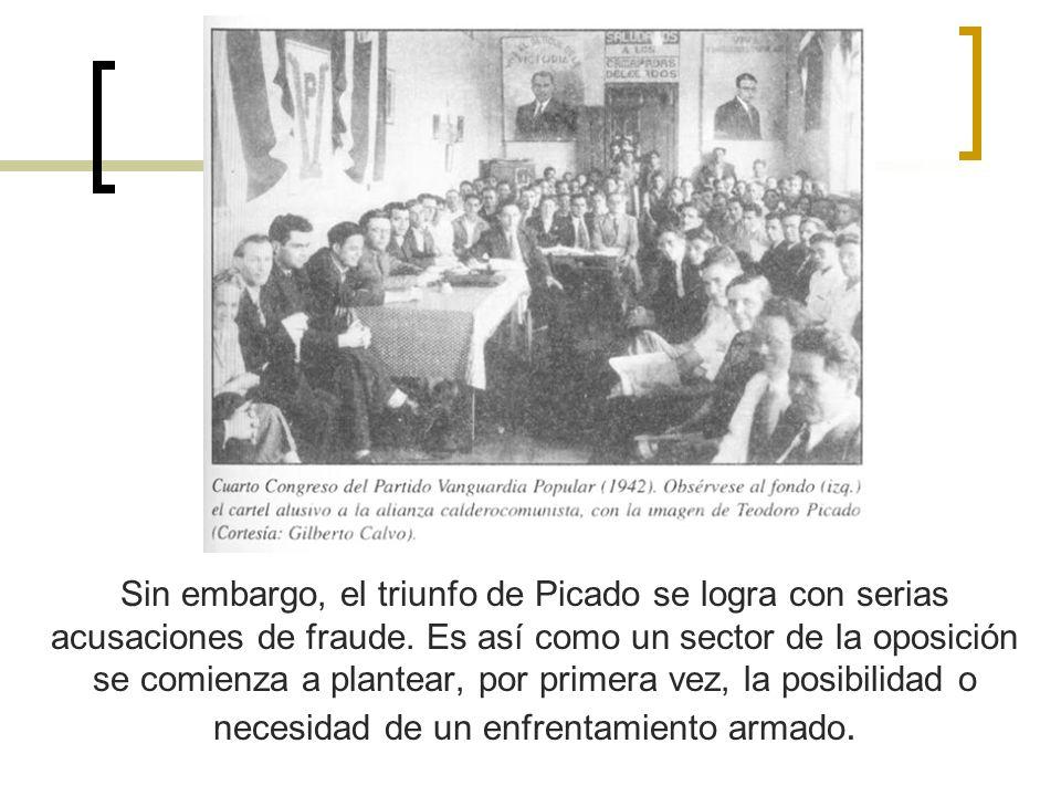Sin embargo, el triunfo de Picado se logra con serias acusaciones de fraude. Es así como un sector de la oposición se comienza a plantear, por primera