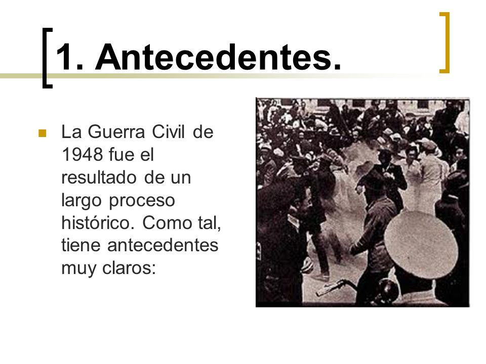 1. Antecedentes. La Guerra Civil de 1948 fue el resultado de un largo proceso histórico. Como tal, tiene antecedentes muy claros: