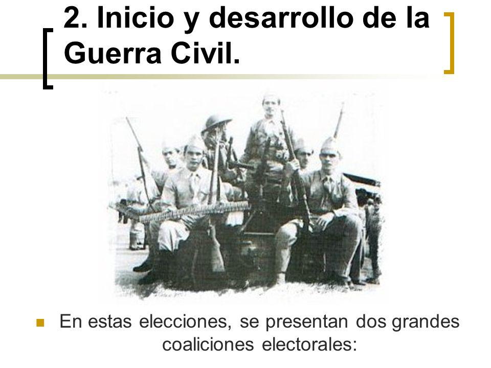 2. Inicio y desarrollo de la Guerra Civil. En estas elecciones, se presentan dos grandes coaliciones electorales: