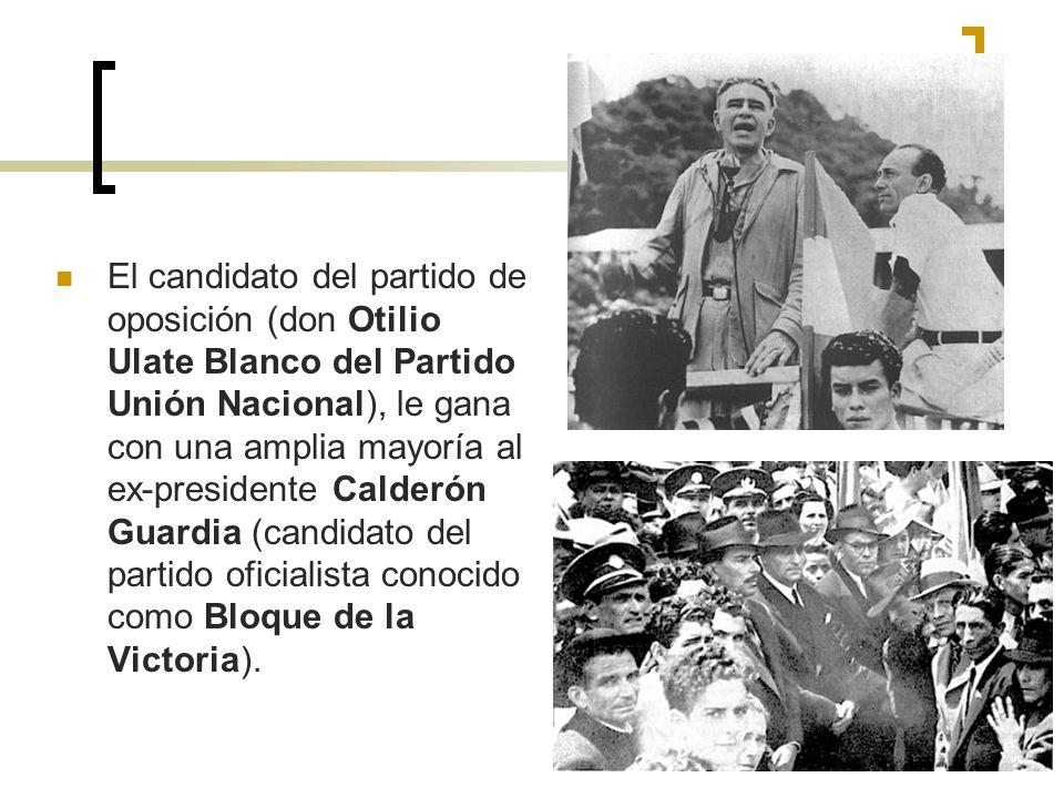 El candidato del partido de oposición (don Otilio Ulate Blanco del Partido Unión Nacional), le gana con una amplia mayoría al ex-presidente Calderón G