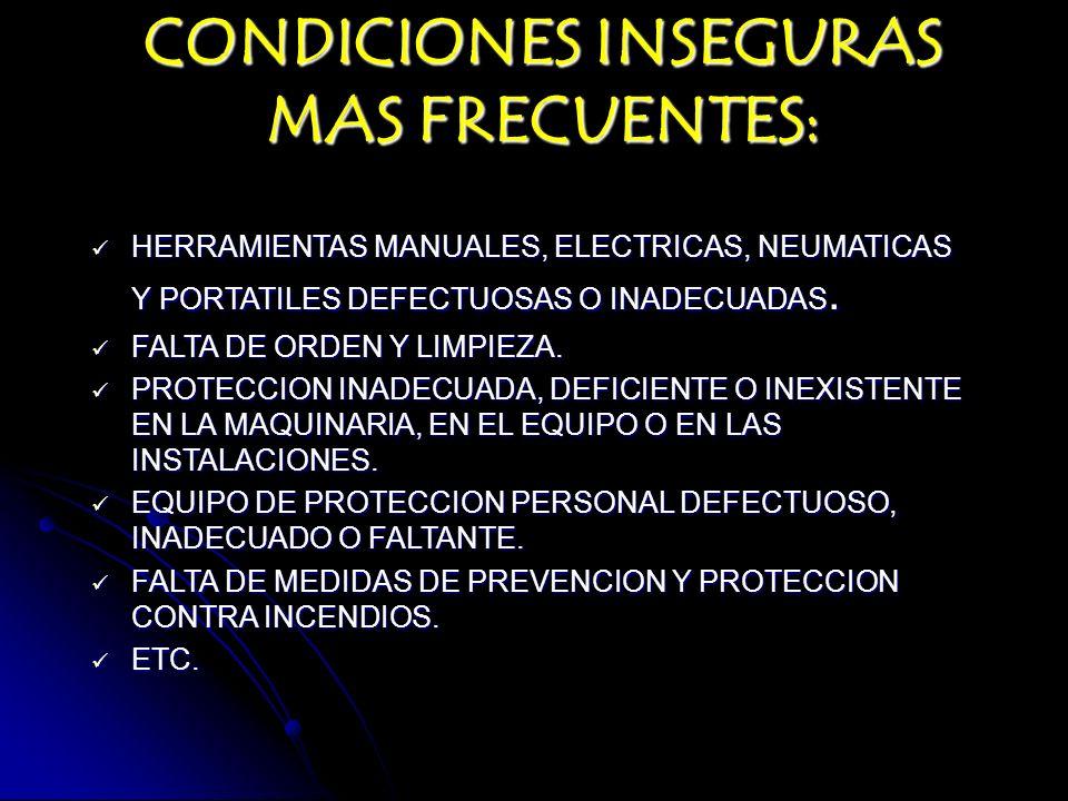 CONDICIONES INSEGURAS MAS FRECUENTES: HERRAMIENTAS MANUALES, ELECTRICAS, NEUMATICAS Y PORTATILES DEFECTUOSAS O INADECUADAS. HERRAMIENTAS MANUALES, ELE