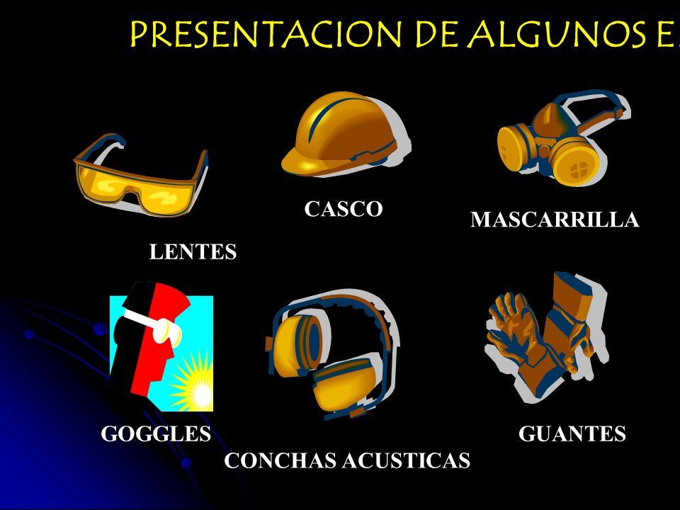 PRESENTACION DE ALGUNOS EPP. LENTES CASCO MASCARRILLA GOGGLES CONCHAS ACUSTICAS GUANTES
