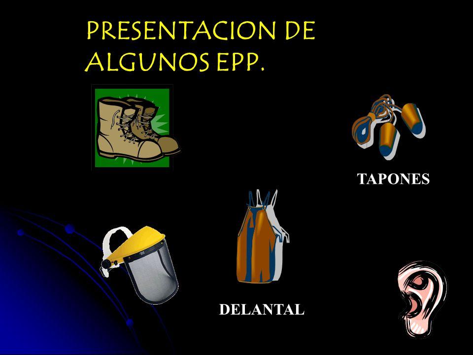 PRESENTACION DE ALGUNOS EPP. DELANTAL TAPONES