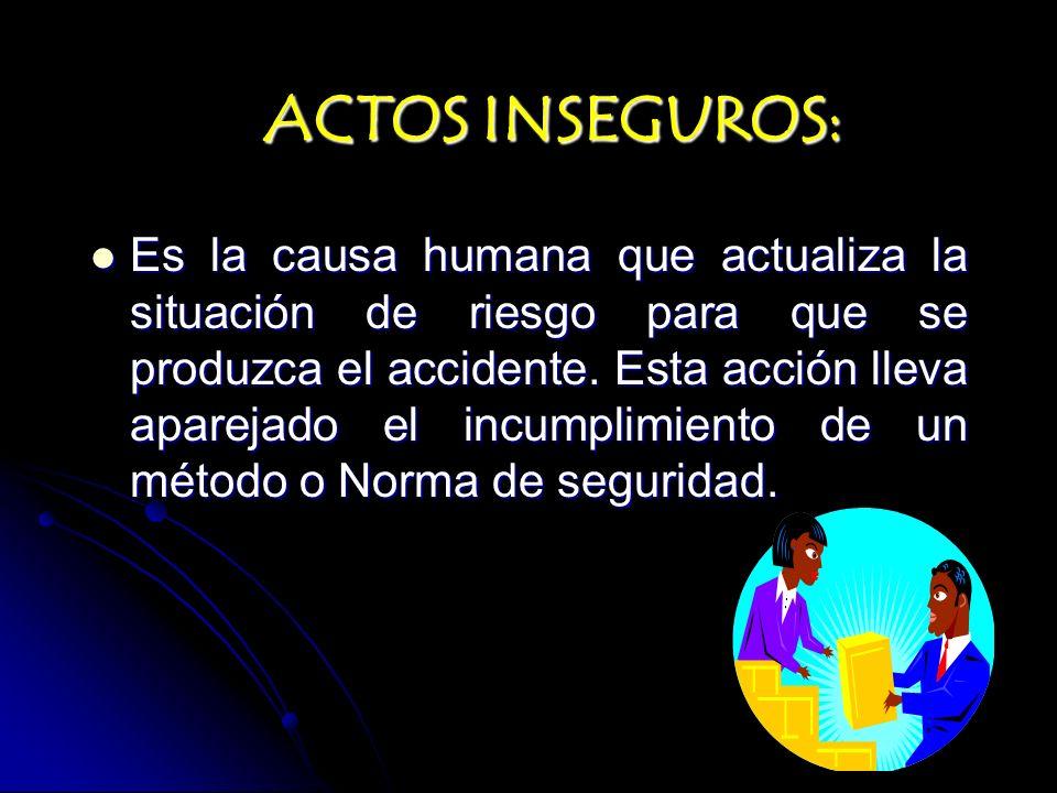 ACTOS INSEGUROS: Es la causa humana que actualiza la situación de riesgo para que se produzca el accidente. Esta acción lleva aparejado el incumplimie