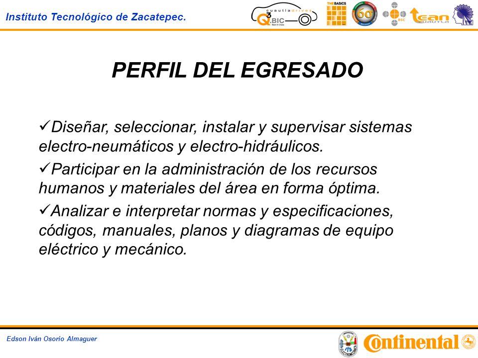 Instituto Tecnológico de Zacatepec. Edson Iván Osorio Almaguer PERFIL DEL EGRESADO Diseñar, seleccionar, instalar y supervisar sistemas electro-neumát