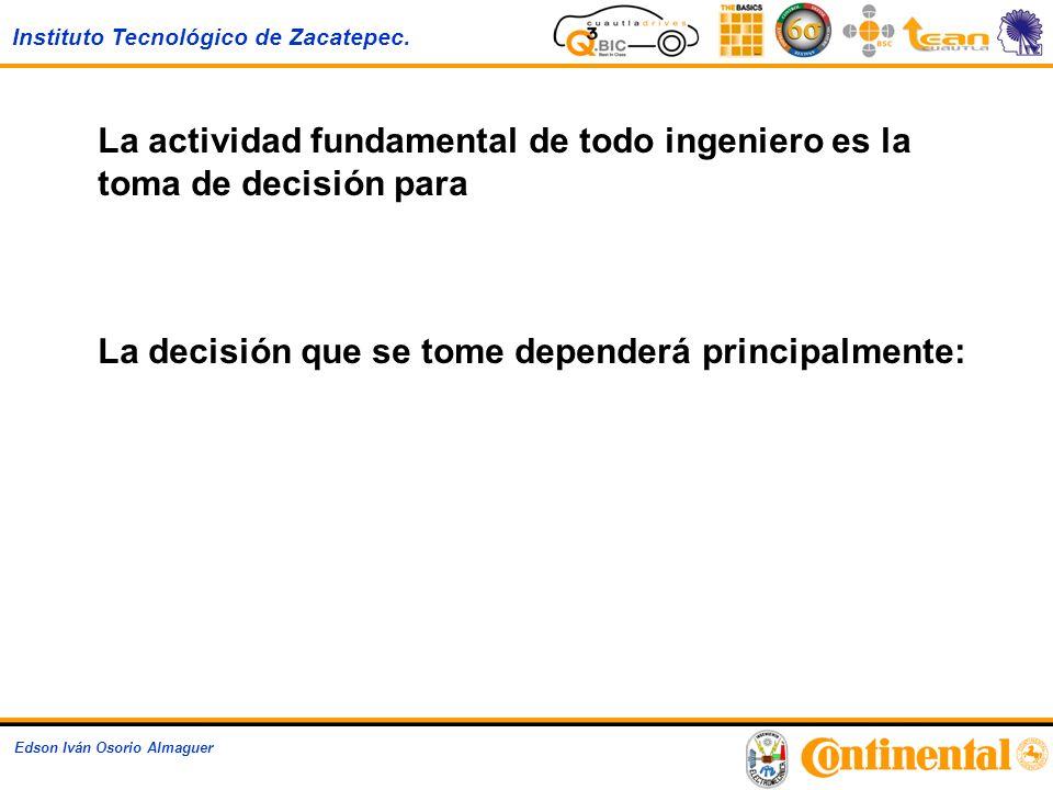 Instituto Tecnológico de Zacatepec. Edson Iván Osorio Almaguer La actividad fundamental de todo ingeniero es la toma de decisión para Solucionar probl