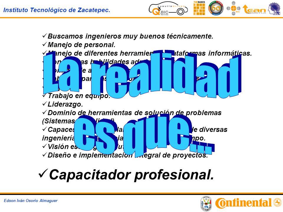 Instituto Tecnológico de Zacatepec. Edson Iván Osorio Almaguer Buscamos ingenieros muy buenos técnicamente. Manejo de personal. Manejo de diferentes h
