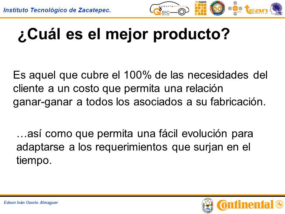 Instituto Tecnológico de Zacatepec. Edson Iván Osorio Almaguer ¿Cuál es el mejor producto? Es aquel que cubre el 100% de las necesidades del cliente a