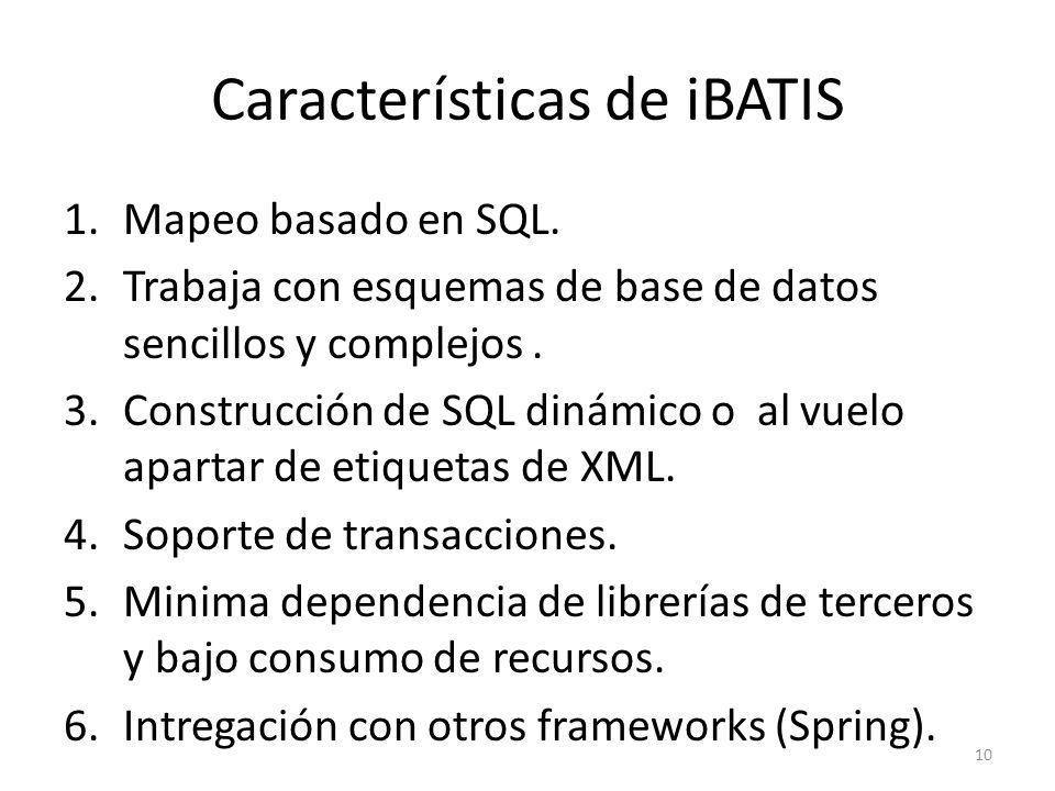 Características de iBATIS 1.Mapeo basado en SQL. 2.Trabaja con esquemas de base de datos sencillos y complejos. 3.Construcción de SQL dinámico o al vu