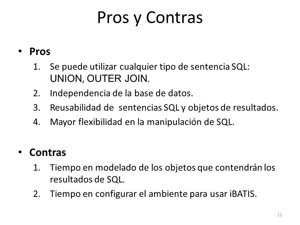 Pros y Contras Pros 1.Se puede utilizar cualquier tipo de sentencia SQL: UNION, OUTER JOIN. 2.Independencia de la base de datos. 3.Reusabilidad de sen