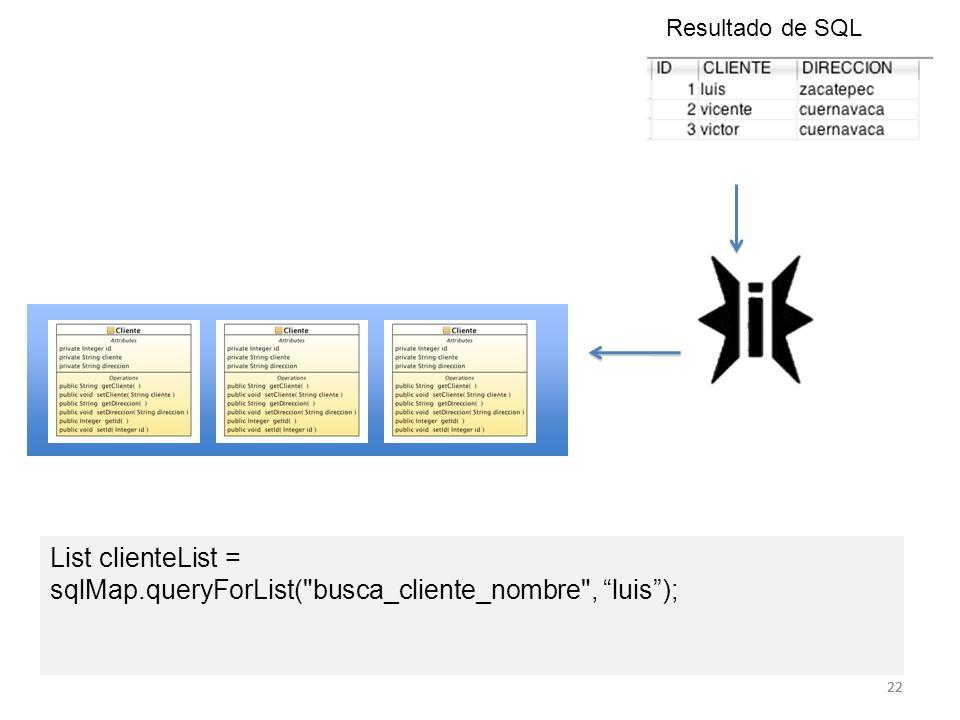 22 List clienteList = sqlMap.queryForList(