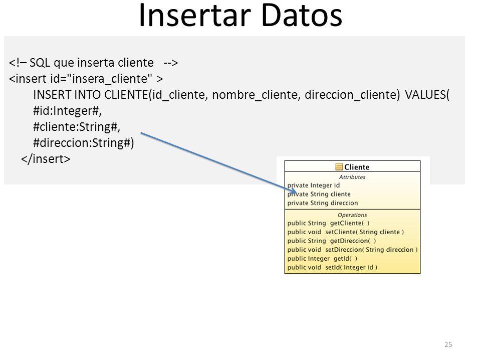 25 INSERT INTO CLIENTE(id_cliente, nombre_cliente, direccion_cliente) VALUES( #id:Integer#, #cliente:String#, #direccion:String#) Insertar Datos