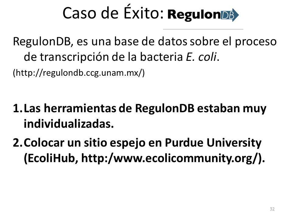 Caso de Éxito: RegulonDB, es una base de datos sobre el proceso de transcripción de la bacteria E. coli. (http://regulondb.ccg.unam.mx/) 1.Las herrami
