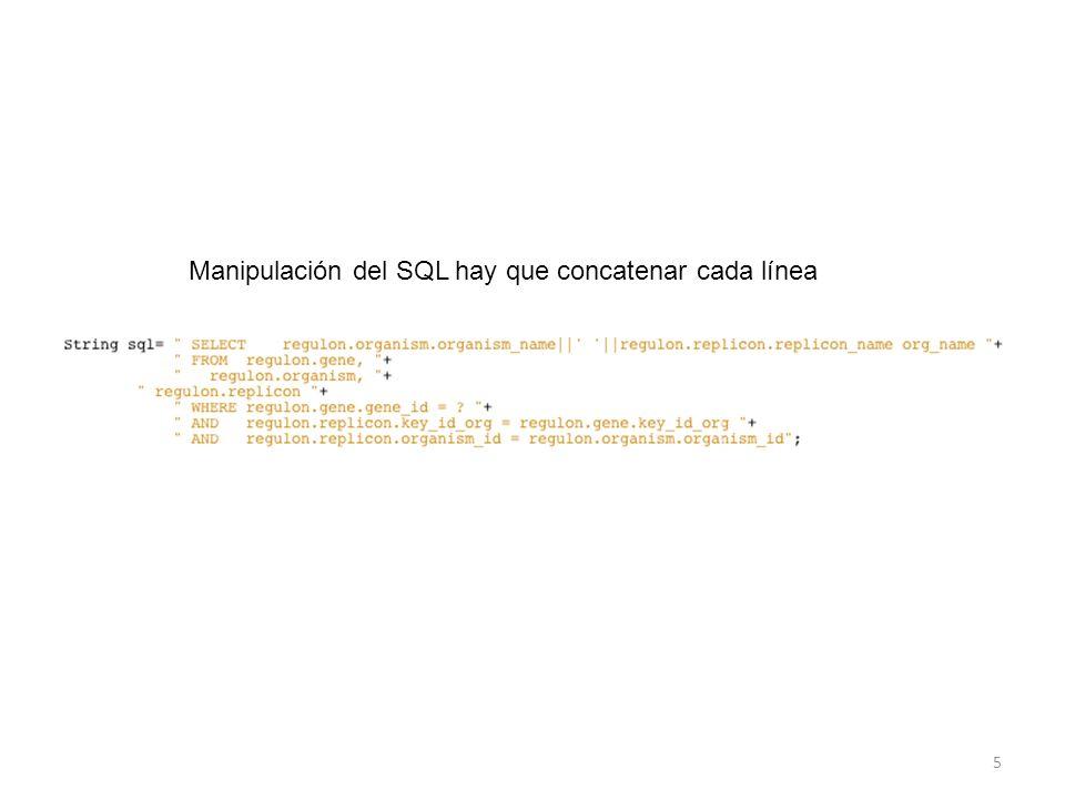 5 Manipulación del SQL hay que concatenar cada línea