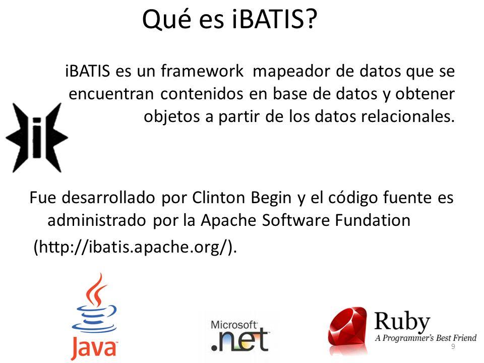 Qué es iBATIS? iBATIS es un framework mapeador de datos que se encuentran contenidos en base de datos y obtener objetos a partir de los datos relacion