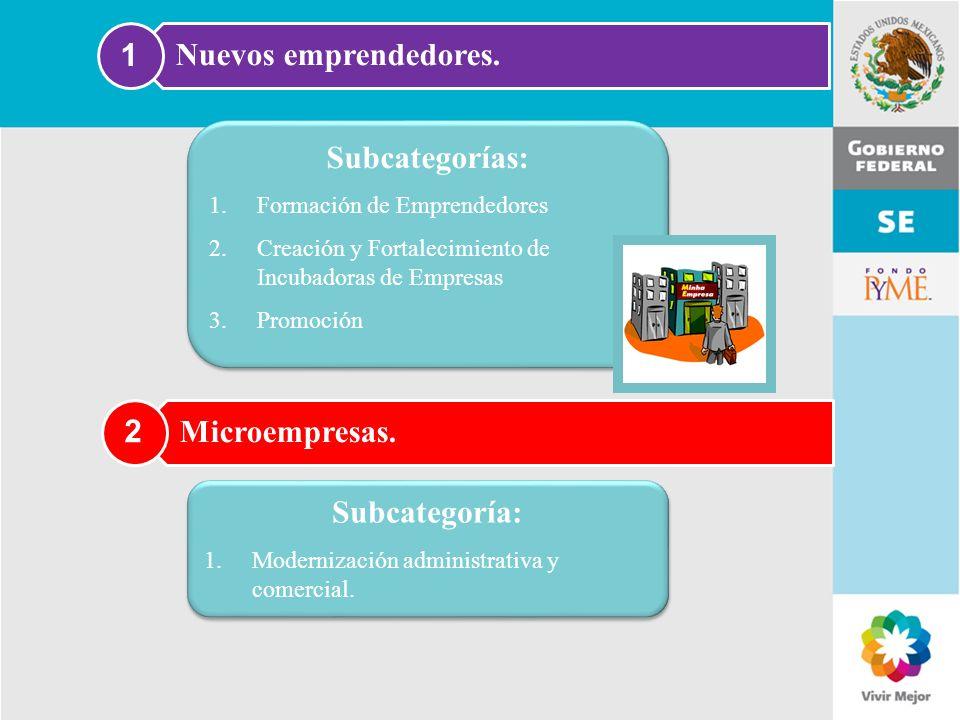 11 de Mayo de 2007Delegación Federal Cuernavaca Nuevos emprendedores. 1 Subcategorías: 1.Formación de Emprendedores 2.Creación y Fortalecimiento de In
