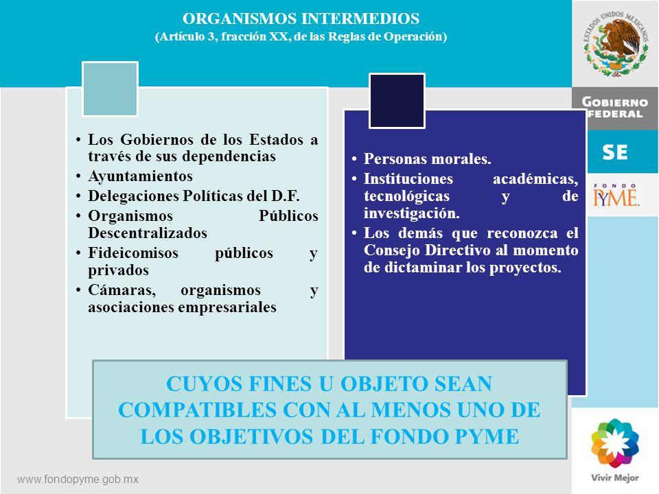 11 de Mayo de 2007Delegación Federal Cuernavaca ORGANISMOS INTERMEDIOS (Artículo 3, fracción XX, de las Reglas de Operación) Los Gobiernos de los Esta