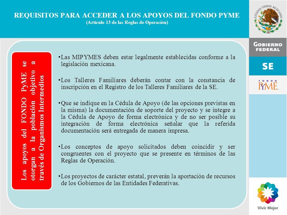 11 de Mayo de 2007Delegación Federal Cuernavaca REQUISITOS PARA ACCEDER A LOS APOYOS DEL FONDO PYME (Artículo 13 de las Reglas de Operación) Los apoyo