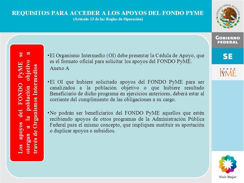 11 de Mayo de 2007Delegación Federal Cuernavaca Los apoyos del FONDO PyME se otorgan a la población objetivo a través de Organismos Intermedios, El Or