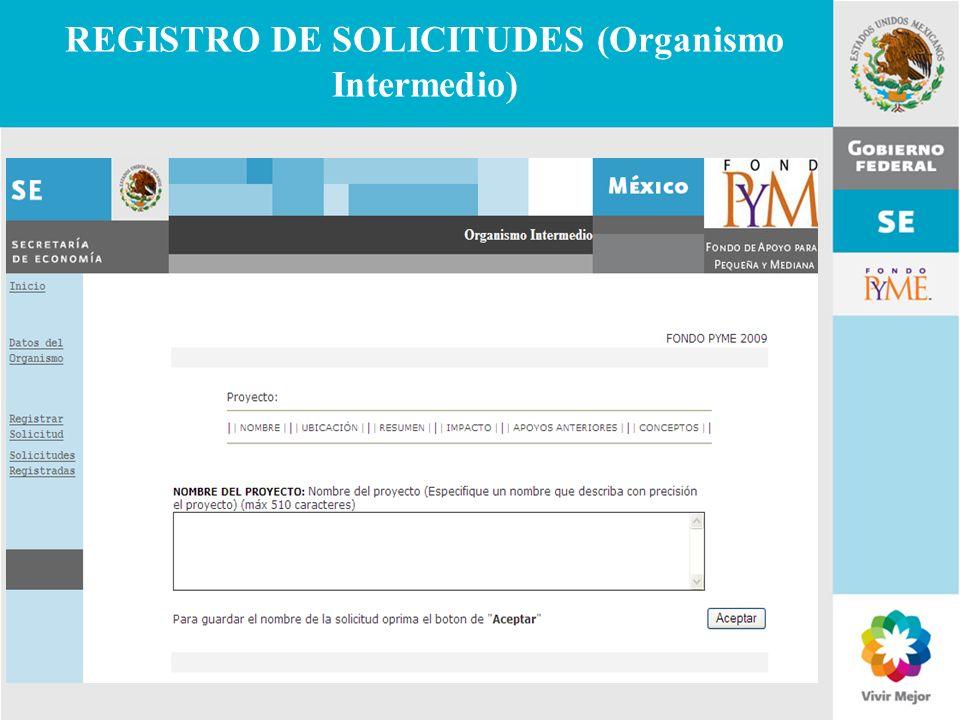 11 de Mayo de 2007Delegación Federal Cuernavaca REGISTRO DE SOLICITUDES (Organismo Intermedio)