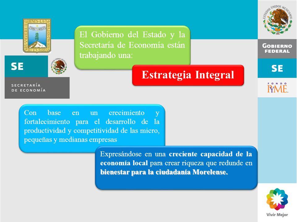 11 de Mayo de 2007Delegación Federal Cuernavaca El Gobierno del Estado y la Secretaría de Economía están trabajando una: Estrategia Integral Con base