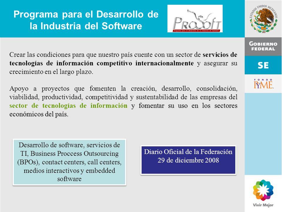 11 de Mayo de 2007Delegación Federal Cuernavaca Programa para el Desarrollo de la Industria del Software Crear las condiciones para que nuestro país c