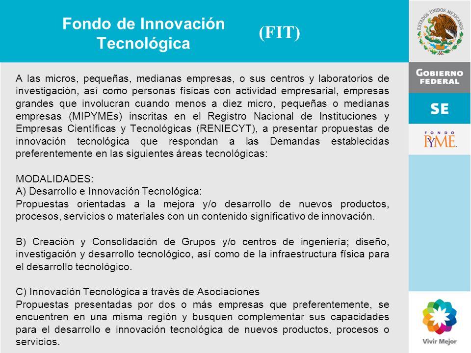 11 de Mayo de 2007Delegación Federal Cuernavaca Fondo de Innovación Tecnológica A las micros, pequeñas, medianas empresas, o sus centros y laboratorio