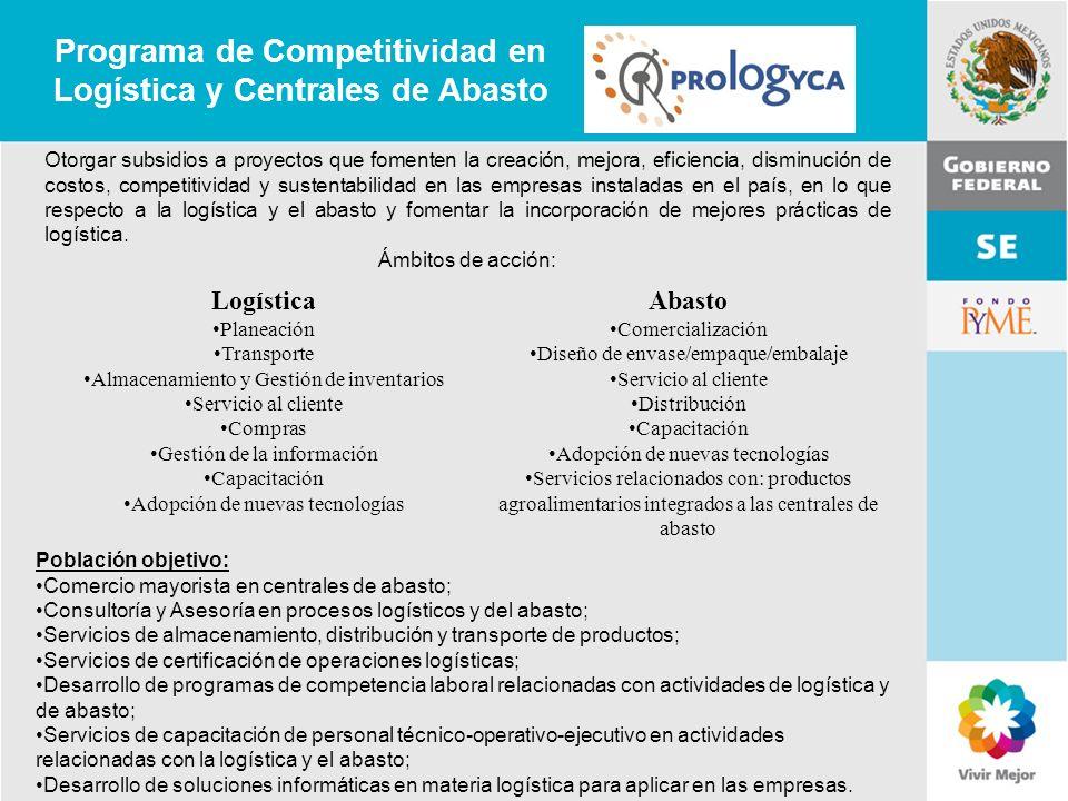 11 de Mayo de 2007Delegación Federal Cuernavaca Programa de Competitividad en Logística y Centrales de Abasto Otorgar subsidios a proyectos que foment