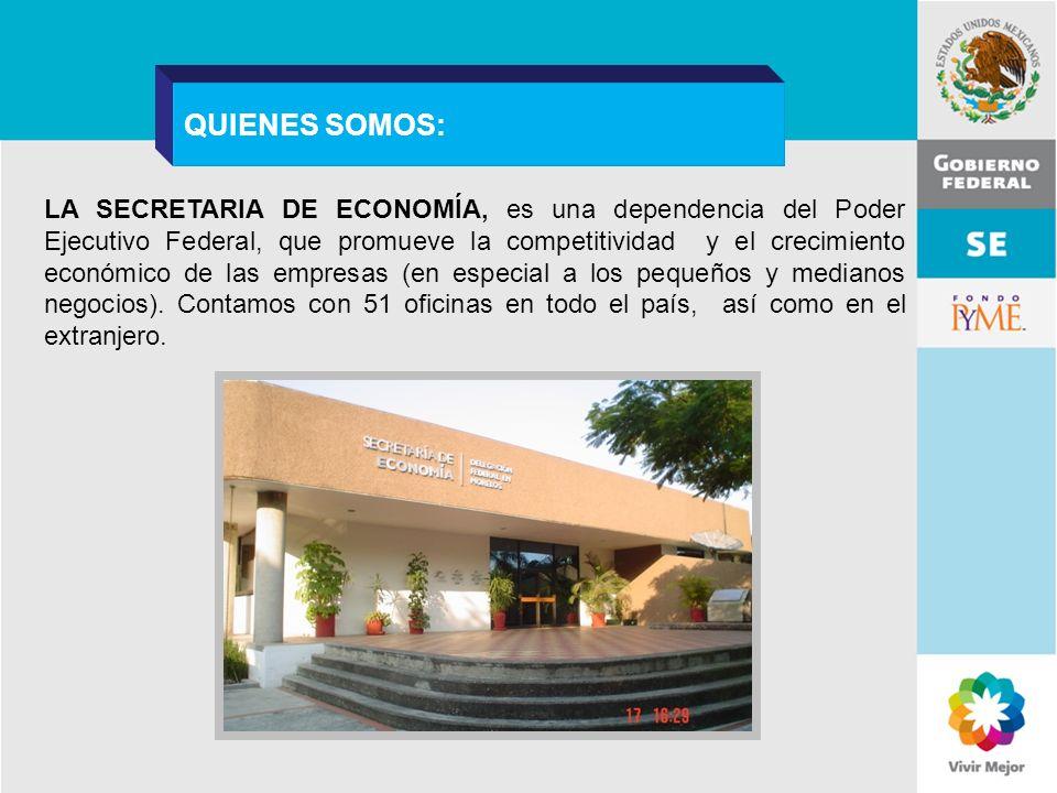 11 de Mayo de 2007Delegación Federal Cuernavaca LA SECRETARIA DE ECONOMÍA, es una dependencia del Poder Ejecutivo Federal, que promueve la competitivi